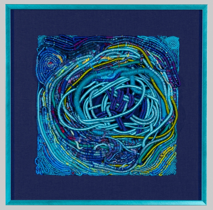 """Brasilian Connection 17.5x17.5"""" Cotton, rayon, silk, wool Wrapping, weaving, coiling"""