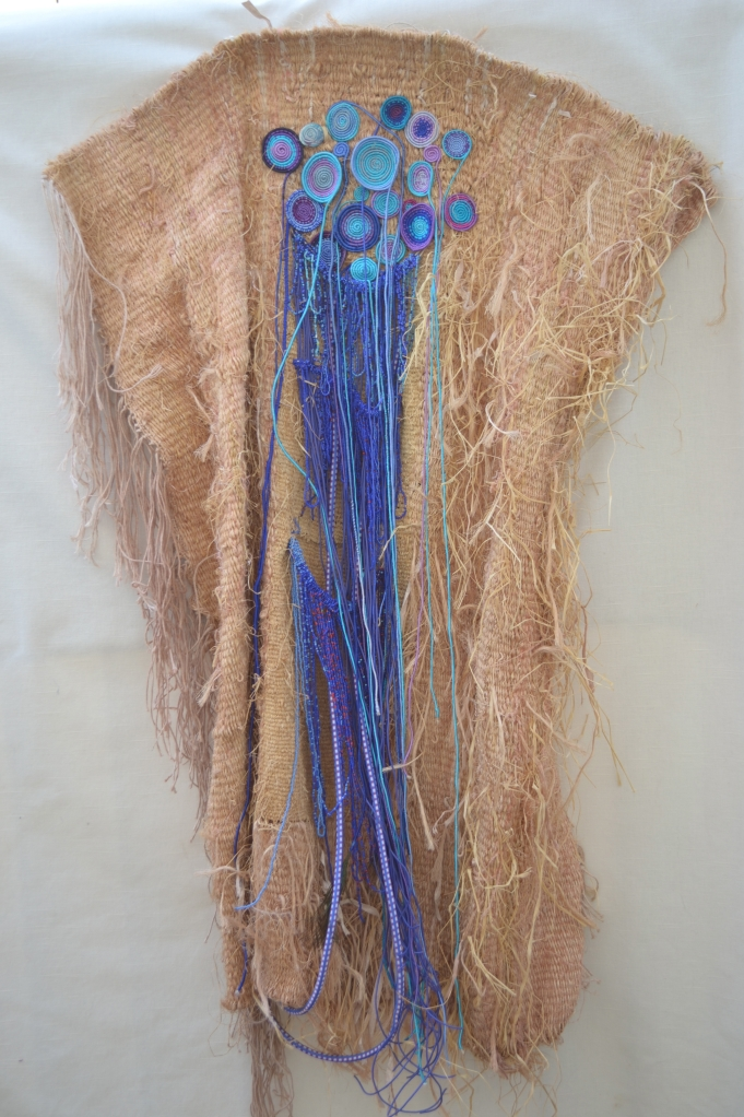 """early clothsong 54x34"""" Linen, raffia, cotton, rayon Tapestry weaving, coiled basketry, wrapping"""