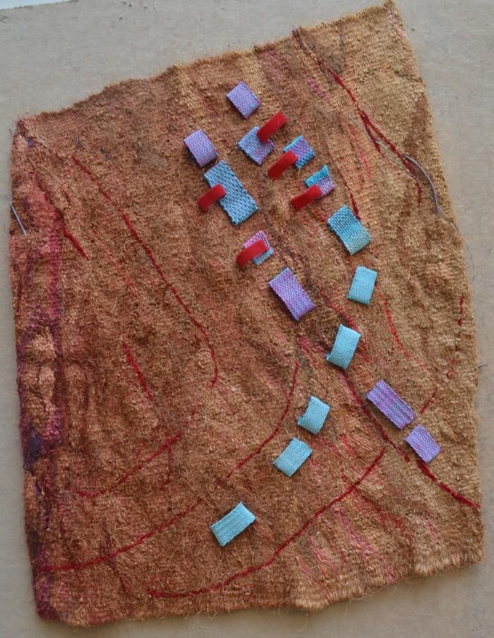 """fiesta II 46x37"""" Linen, cotton, rayon, sisal Tapestry weaving, pattern weaving, stitchery"""