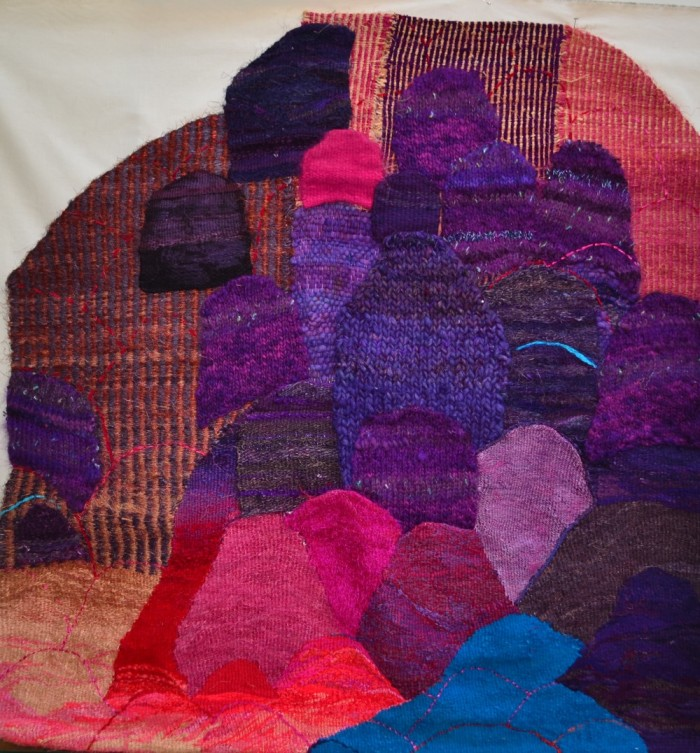 "Landforms II 56.5x58"" Linen, wool, rayon, sisal Tapestry weaving, knitting"