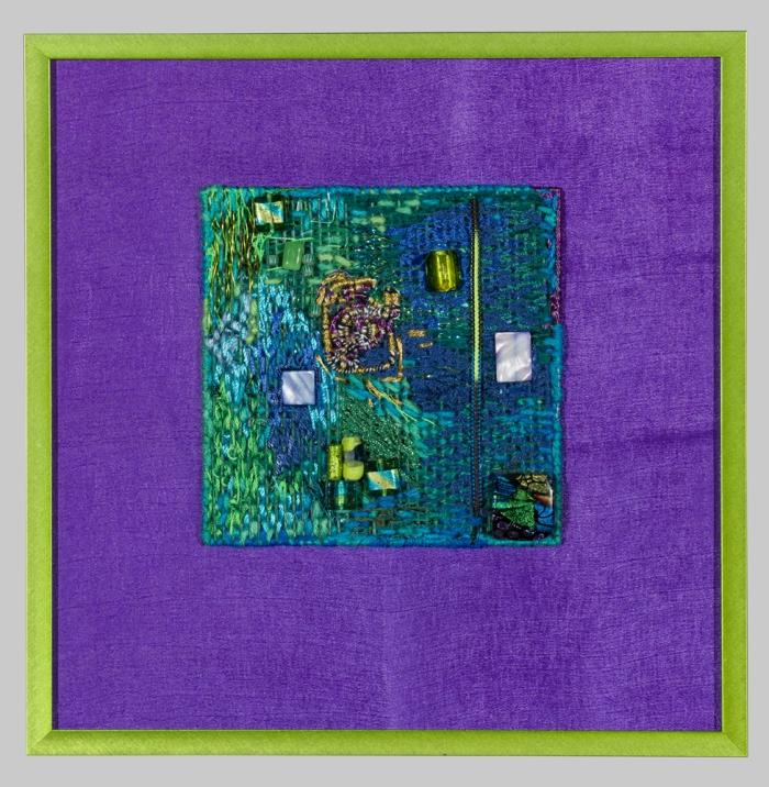 "Midwestern Intersection 12.5x12.5"" Rayon, silk, cotton, glass beads Stitchery, wrapping"