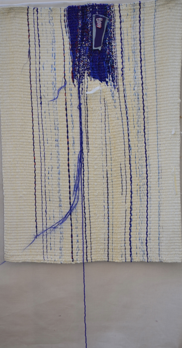"""peacecloth 40x21"""" Linen, rayon, ribbon, beads Tapestry weaving, wrapping, beadwork"""