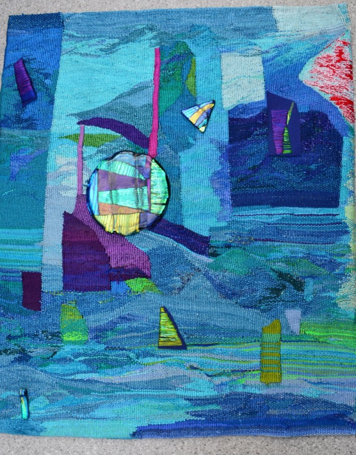 "Post Meridian 31x26"" Linen, wool, silk, rayon, cotton, glass Tapestry weaving, stitchery, fused glass"
