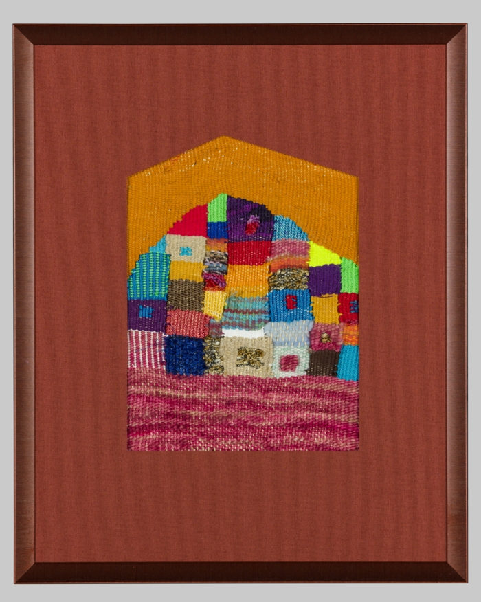 "Shelter (for Dad) 13.5x11"" Wool, cotton, rayon, nylon, silk Tapestry weaving"